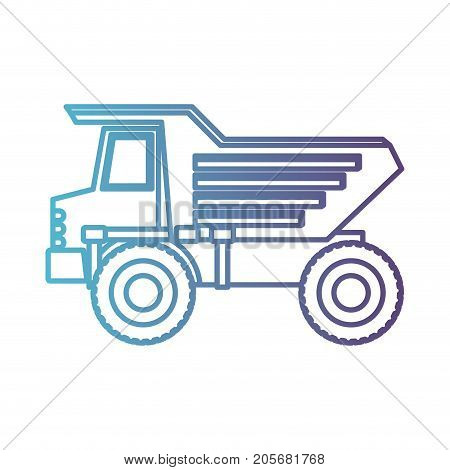 dump truck flat icon gradient color silhouette from blue to purple vector illustration