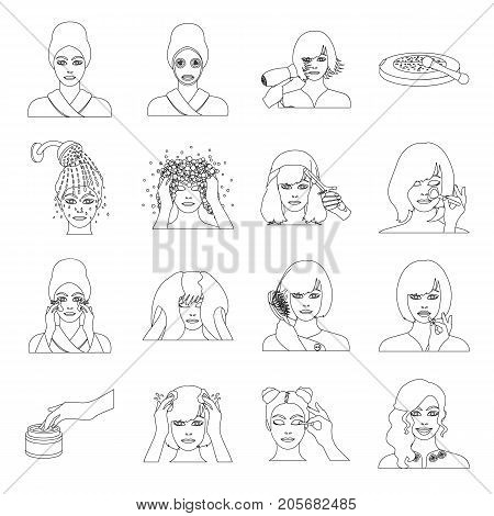 Salon, cosmetic, hairdresser and other  icon in outline style. Attire, cosmetology, hygiene, icons in set collection.