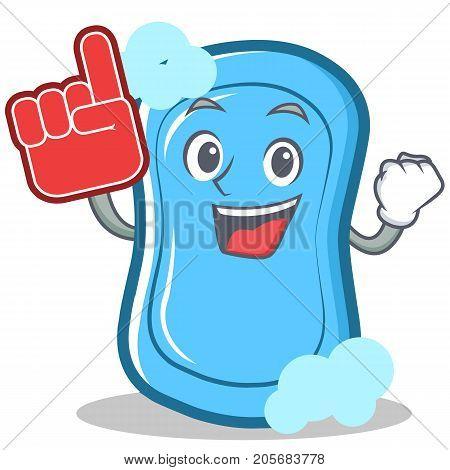 Foam finger blue soap character cartoon vector illustration
