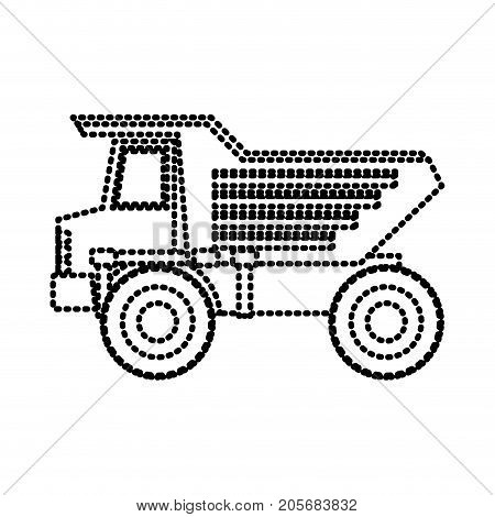 dump truck flat icon monochrome dotted silhouette vector illustration