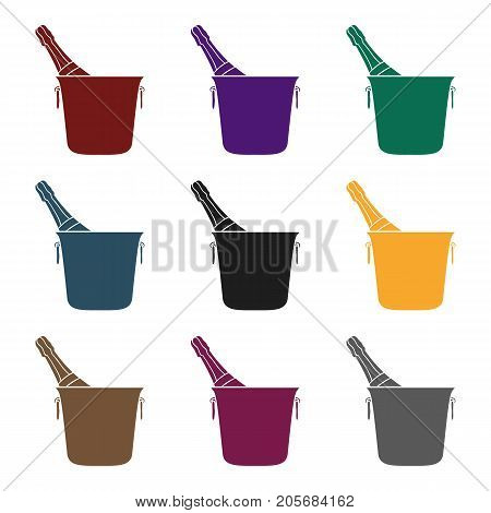 Bottle of champagne in an ice bucket icon in black style isolated on white background. Restaurant symbol vector illustration.