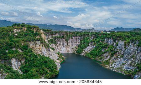 An Aerial View Of  Grand Canyon Chonburi Thailand ,landmark  In Chonburi Thailand