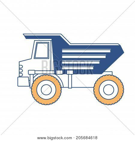 dump truck flat icon in color sections silhouette vector illustration