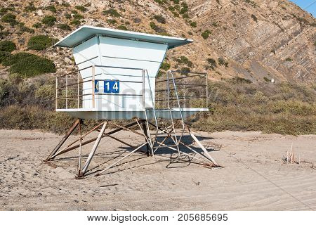 Lifeguard tower on Mugu Beach, in Malibu, California, which lies along the scenic Pacific Coast Highway.