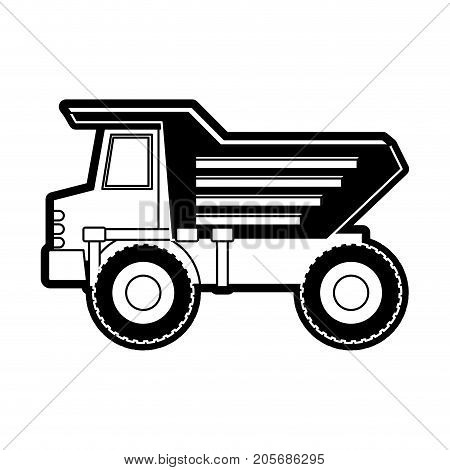 dump truck flat icon black silhouette vector illustration