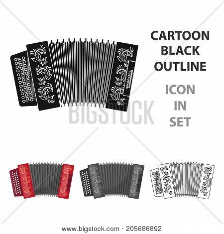 Classical bayan, accordion or harmonic icon in cartoon design isolated on white background. Russian country symbol stock vector illustration.