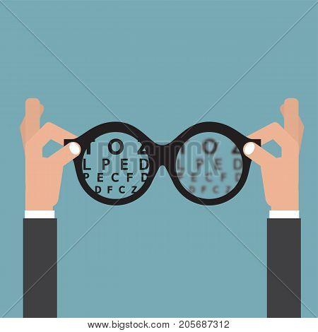 Hold hands Glasses Optician Vision Of Eyesight Eye Care Concept Vector Illustration. EPS 10