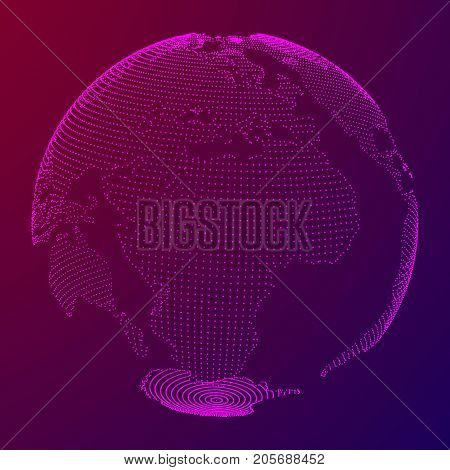 Abstract polygonal space low poly planet Earth with dots. Wireframe Earth connection structure HUD element. Futuristic Vector illustration.