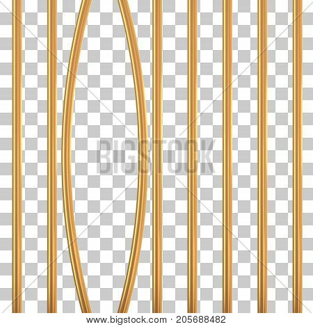 Broken golden prison bars on transparent. Vector illustration. Way out to freedom from gold cage concept
