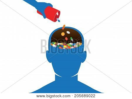 Hand put many medicine into human head. Illustration about effects of Drugs of Abuse on the Brain.
