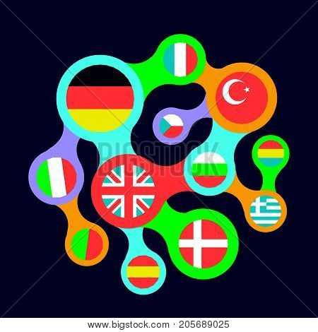 Interrelated Flags Countries Flat Icon