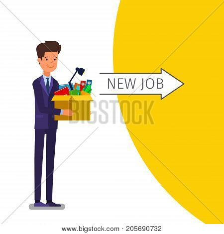 Concept of Welcome to the new job. Young businessman holding a box with his things. Time for a new job. Flat design, vector illustration.
