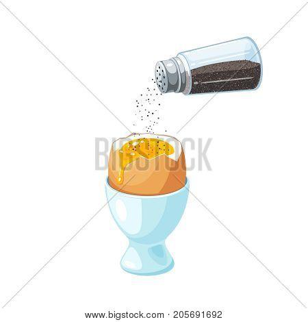 Pepper shaker pouring ground pepper to soft-boiled egg in eggshell in egg holder. Vector illustration cartoon flat icon isolated on white.
