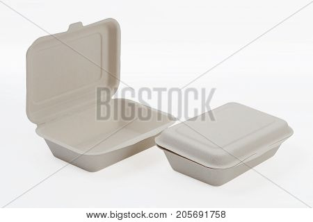 Unbleached plant fiber food box isolated on white with clipping path, Natural fiber eco food box
