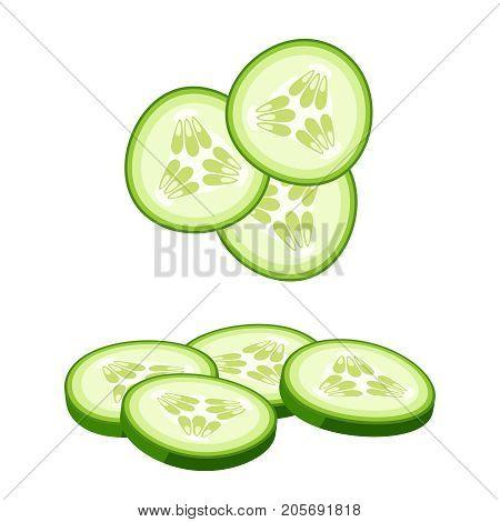 Hamburger ingredient. Sliced cucumber. Vector illustration cartoon flat icon isolated on white.
