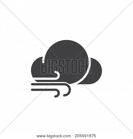 Windy weather icon vector, filled flat sign, solid pictogram isolated on white. Symbol, logo illustration.