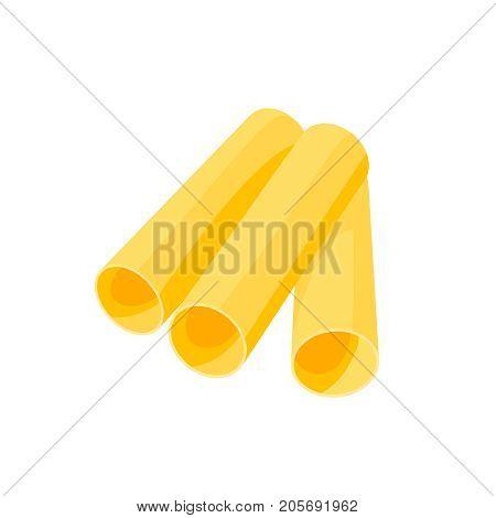 Italian cuisine. Pasta cannelloni manicotti. Vector illustration cartoon flat icon isolated on white.