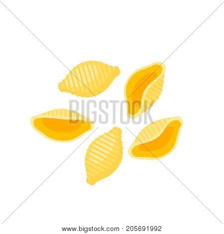 Italian cuisine. Pasta conchiglie. Vector illustration cartoon flat icon isolated on white.