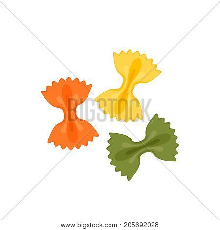 Italian cuisine. Pasta farfalle tricolore - red green yellow. Vector illustration cartoon flat icon isolated on white.