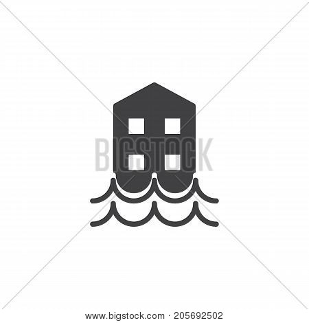 Floods icon vector, filled flat sign, solid pictogram isolated on white. Symbol, logo illustration.