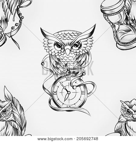 Seamless pattern of a wise owl with a clock on white background.