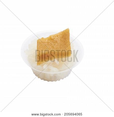 Isolated and clipping path of sweet sticky rice with thai custard.