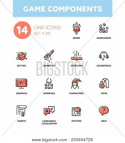 Game Components - modern vector single line icons set. Genre, engine, setting, gameplay, storyline, soundtrack, graphics, interface character item quest language localization patch help