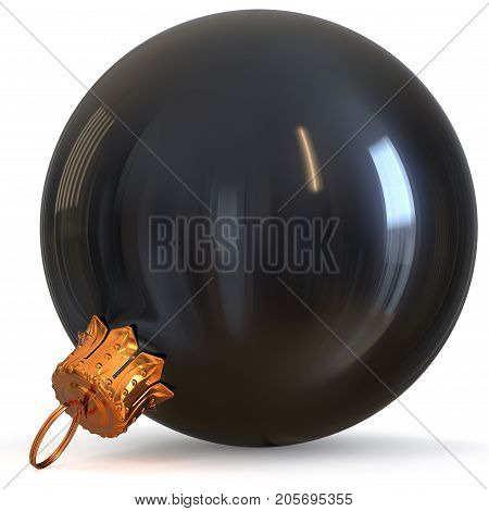 Christmas ball decoration black New Year's Eve bauble winter hanging adornment souvenir. Traditional ornament happy wintertime holidays Merry Xmas symbol closeup. 3d rendering illustration
