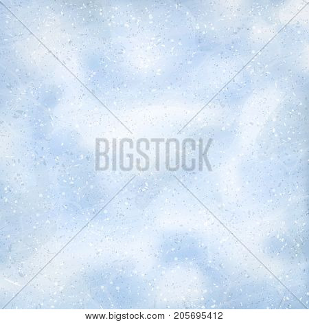 Natural winter background with snow drifts and falling snow. Overhead view. Texture of snow surface. White snow flakes. Vector illustration background