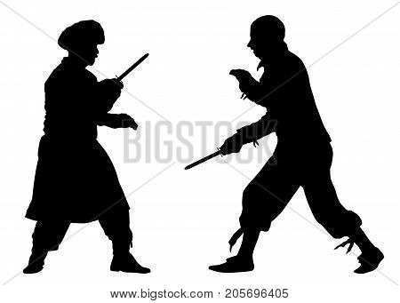 Battle of knives. Martial fight arts. Silhouette vector
