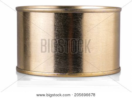 golden tin can on isolated white background