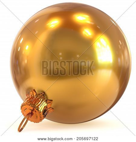 Christmas ball golden decoration New Year's Eve bauble winter hanging adornment souvenir yellow shiny. 3d render illustration