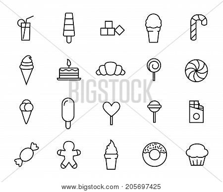 Premium set of sweet and candy line icons. Simple pictograms pack. Stroke vector illustration on a white background. Modern outline style icons collection.
