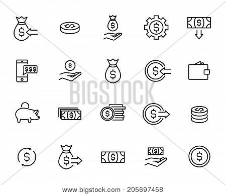 Premium set of money line icons. Simple pictograms pack. Stroke vector illustration on a white background. Modern outline style icons collection.