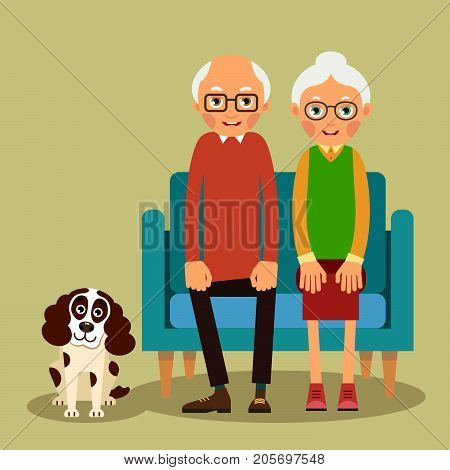 On the sofa sit elderly woman man and dog. Family portrait of elderly with animal. Married couple of pensioners at home on couch with a pet. Illustration in flat style. Isolated. Vector.
