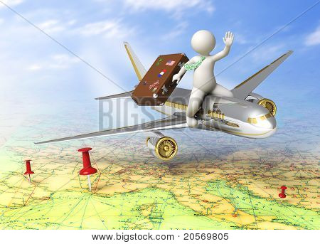 3D Guy Traveling By Plane
