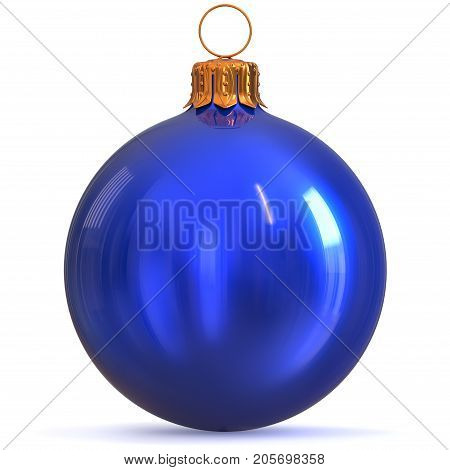 Blue Christmas ball decoration New Year's Eve bauble winter hanging adornment souvenir. Traditional ornament happy wintertime holidays Merry Xmas symbol closeup. 3d rendering illustration