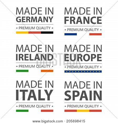 Simple vector logos Made in Italy, Germany, France, Ireland, Spain and Made in European Union. Premium quality. Label with flag. Vector illustration