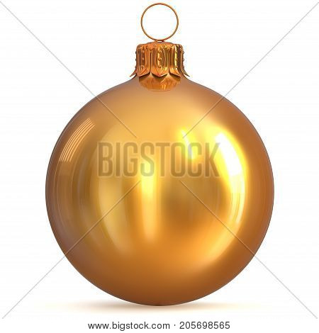 Golden Christmas ball decoration New Year's Eve bauble winter hanging adornment souvenir yellow. Traditional ornament happy wintertime holidays Merry Xmas symbol closeup. 3d rendering illustration