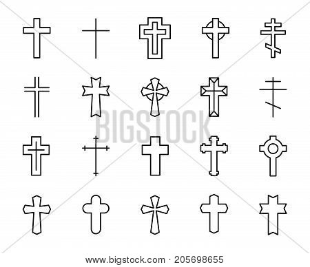 Premium set of Christian cross line icons. Simple pictograms pack. Stroke vector illustration on a white background. Modern outline style icons collection.