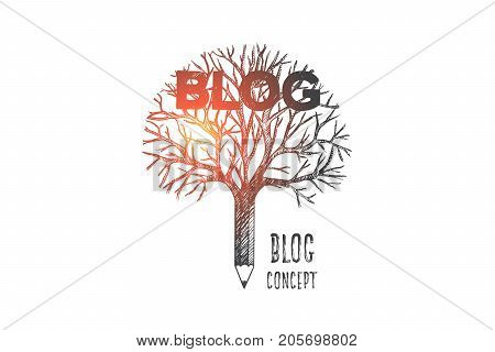 Blog concept. Hand drawn pencil like a tree. Pencil as a symbol of blog writing isolated vector illustration.