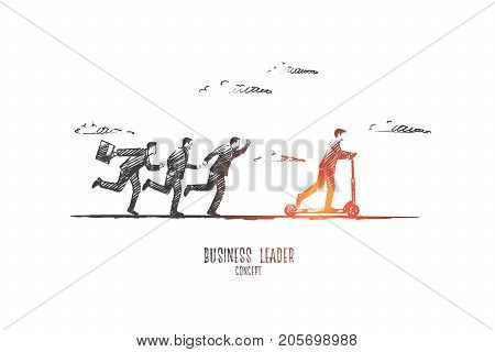 Business leader concept. Hand drawn team leader with colleagues. Boss and team isolated vector illustration.