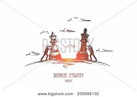 Business strategy concept. Hand drawn chess game as symbol of business. Businessmen moving chess figures isolated vector illustration.