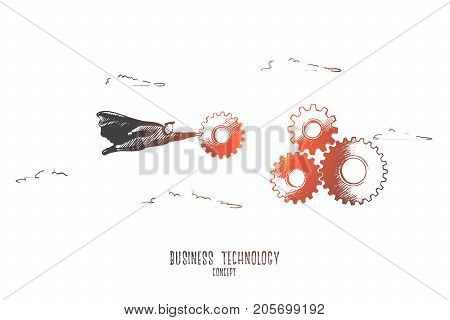 Business technology concept. Hand drawn superman with gears. Technology of business process isolated vector illustration.