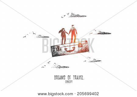 Dreams of travel concept. Hand drawn man and woman on suitcase dreaming about travel. Happy couple waiting for vacation isolated vector illustration.