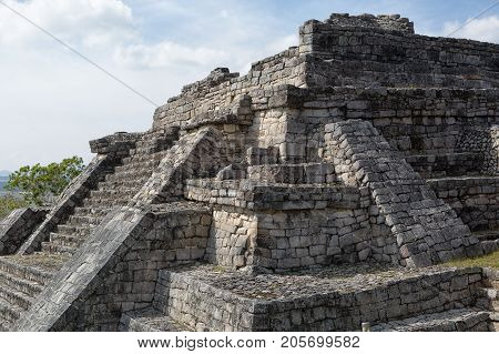 December 23 2014 Lagunas de Montebello National Park Mexico: the acropolis of the Chinkultic mayan ruins although moderate in size still popular with tourists