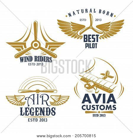 Aviation pilots and retro airplane icons. Vector isolated set of aircraft propeller and wings for avia customs badges, airscrew for air flight legend or best adventures and sport team poster