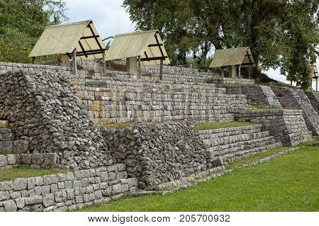 December 23 2014 Lagunas de Montebello National Park Mexico: protected carvings at the Chinkultic ruins built in the Maya classic era
