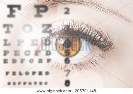 Photo of close up image of human eye through eye chart