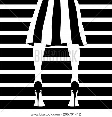 Woman's legs in a stripped skirt wearing high heels. Stock vector illustration of fashionable woman in trendy clothes and shoes in glamour vogue style.